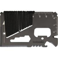 Baladeo Dakota Survival Card, 3.38in X 2.13in X 0.13in, Black SS Construction, Black Nylon Sheath