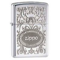 Zippo Crown Stamp American Classic Style Lighter, High Polish Chrome