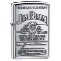 Zippo Jim Beam Classic Style Emblem Lighter, High Polish Chrome