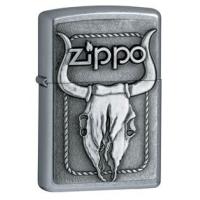 Zippo Bull Skull Classic Style Lighter, Street Chrome
