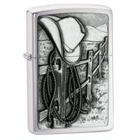 Zippo Resting Cowboy Classic Style Lighter, Street Chrome