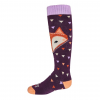 Hot Chillys Youth Little Fox Mid Volume Sock, Little Fox/Purple, Large