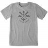 Life Is Good Crusher Tee Outdoor Action Top - Unisex, Heather Gray, Large
