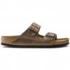 Birkenstock Arizona Soft Footbed Oiled Nubuck Leather Sandals, Tobacco Brown, Narrow, 37