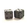 Flytanium Cuboid Large Titanium D6 Dice, Set of 2, Bead Blasted