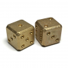 Flytanium Cuboid Large Brass D6 Dice, Set of 2, Brass Stonewash