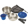 Coleman One Person Stainless Steel Mess Kit, 6 Piece Set, Stainless Steel / Blue