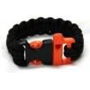 Bison Designs Paracord Whistle Survival Bracelet-Black-Small