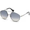 Balenciaga BA0085 Sunglasses - Shiny Light Ruthenium Frame, Smoke Mirror Lenses, 60 mm Lens Diameter