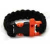 Bison Designs Paracord Whistle Survival Bracelet-Black-Small