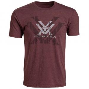Vortex Short Sleeve Double Logo T-Shirt-Burgundy-Medium
