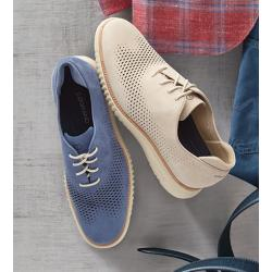 Cole Haan Washed Indigo Laser-Cut Wing-Tips