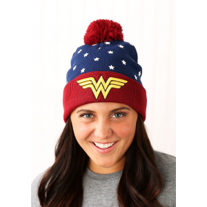 DC Comics Wonder Woman Navy Red Gold Jrs Cuff Knit Hat