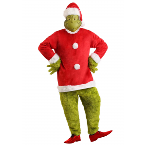 The Grinch Santa Deluxe Jumpsuit with Mask Costume for Men