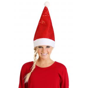 Unisex Red Sequin Santa Hat