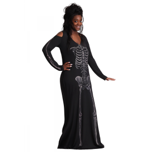 Women's Plus Size Bone Appetit Skeleton Long Dress Costume 1X 2X 3X 4X 5X