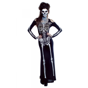 Women's Bone Appetit Skeleton Long Dress Costume