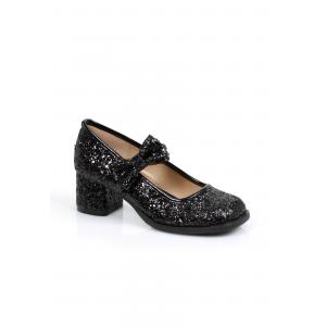 Girl's Black Glitter Heels