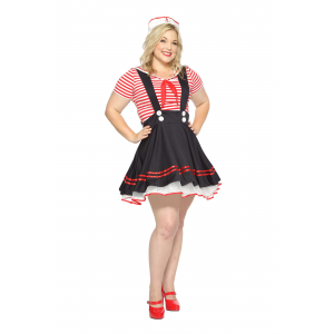 Women's Plus Size Retro Sailor Girl Costume 1X 2X