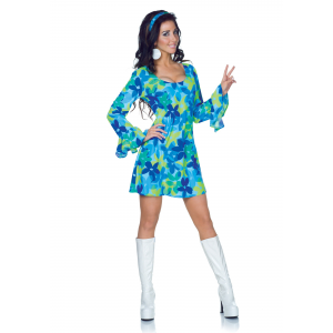 Plus Size 70s Wild Flower Retro Dress Costume 2X 3X