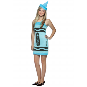 Teen Sky Blue Crayon Dress Costume