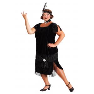 Black Plus Size Flapper Costume