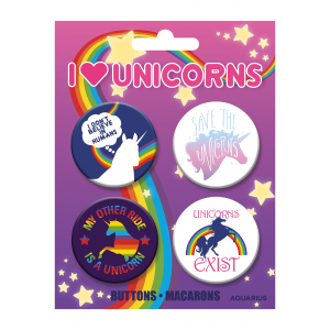 4-Pack I Love Unicorns Button Set