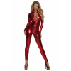 Metallic Red Mock Neck Women's Jumpsuit