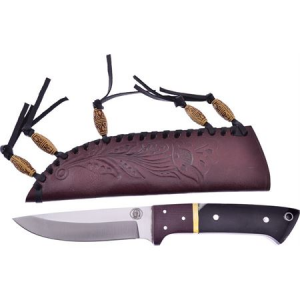 Frost CW4762BH Chipaway Hunter Fixed Drop Point Blade Knife with Buffalo Horn Handle