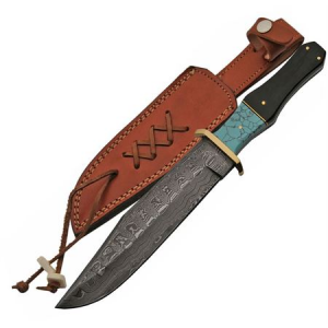 Damascus 1149 Bowie Knife with Horn and Turquoise Handle