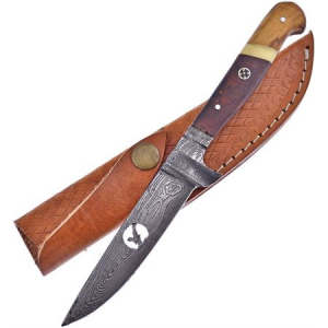 Frost VFD16E Hunter Damascus Knife with Rose Wood and Olive Wood Handle