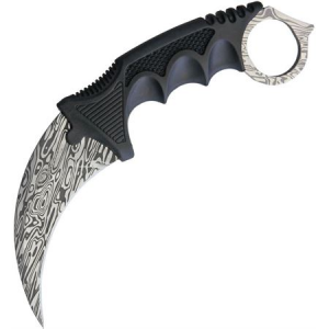 Miscellaneous 4373 Neck Knife with Black Finger Grooved Nylon Handle