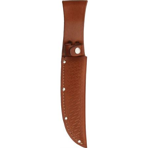 Sheath 1135 Straight Knife with Brown Basketweave Leather Construction