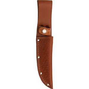 Sheath 1134 Straight Knife with Brown Basketweave Leather Construction