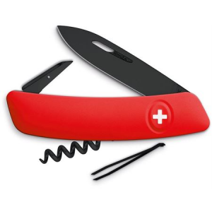 Swiza Pocket 131000 D01 Swiss Pocket Multi-Tool Knife with Red Synthetic Handle