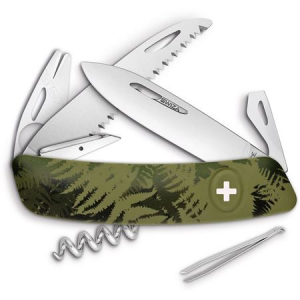 Swiza Pocket 902050 TT05 Tick Multi-Tool Knife with Olive Fern Synthetic Handle