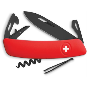 Swiza Pocket 331000 D03 Swiss Pocket Multi-Tool Knife with Red Synthetic Handle
