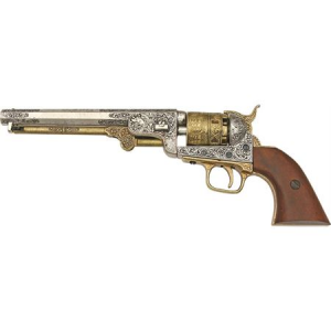Denix 1040L Civil War 1851 Navy Revolver with Antique Nickel Silver Finish Barrel