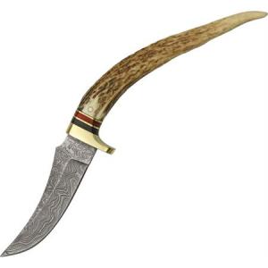 Damascus 1028 Tip Skinner Fixed Blade Knife