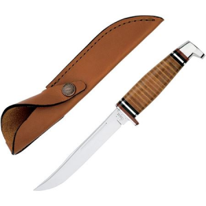 Case 381 Hunter Fixed Clip Blade Knife with Polished Leather Handle
