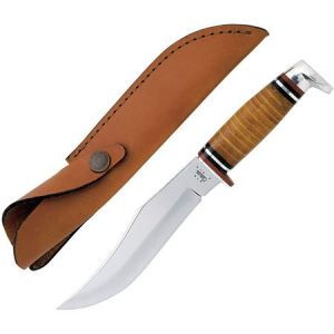 Case 386 Hunter Fixed Upswept Skinner Blade Knife with Polished Leather Handle
