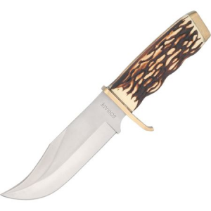 Schrade 171UH Uncle Henry Pro Hunter Fixed Stainless Clip Blade Knife with Delrin Stag Handle