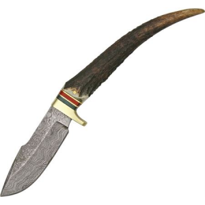 Damascus 1029 Stag Grip Hunter Fixed Blade Knife