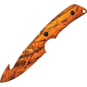 Elk Ridge 116OC Guthook Hunter Fixed Blade Knife with Aluminum Orange Camo Finish Handles