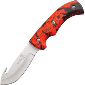 Elk Ridge 274RC Guthook Hunter Fixed Blade Knife with Red Camo Finish Aluminum Handles