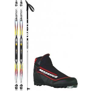 Salomon Team Racing Grip Cross Country Complete Ski Package + Poles