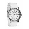 Nixon Sentry Leather Watch Silver/white