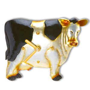 """5.5"""" Country Heritage Decorative Magnetic Cow Wall Clock"""