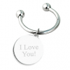 Engraved Silver Good Luck Horseshoe Keychain