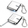 Silver Measuring Tape Key Holder with LED Flashlight
